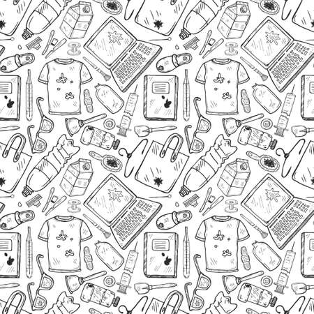 Seamless pattern with hand drawn garbage. Plastic pollution collection. Vector Illustration
