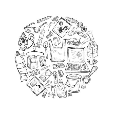 Round composition with hand drawn garbage. Plastic pollution collection. Vector Archivio Fotografico - 125400207