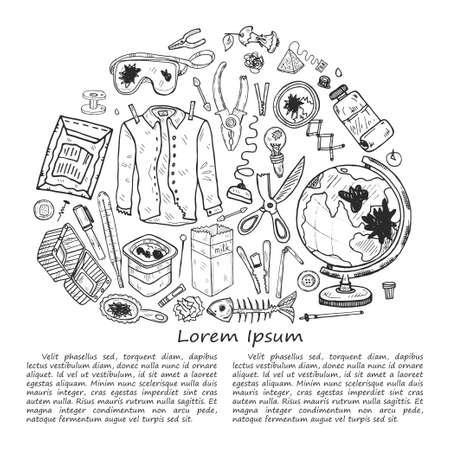 Illustration with hand drawn garbage. Plastic pollution collection. Vector Archivio Fotografico - 125400208