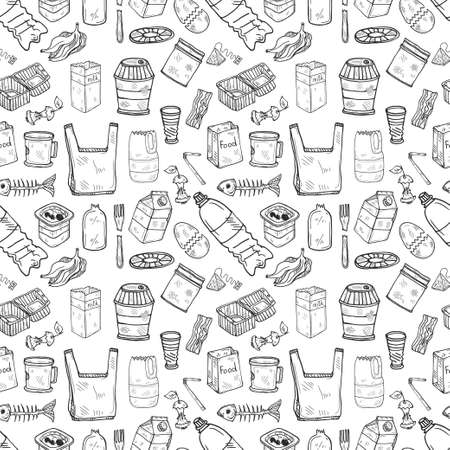 Seamless pattern with hand drawn garbage. Plastic pollution collection. Vector 向量圖像