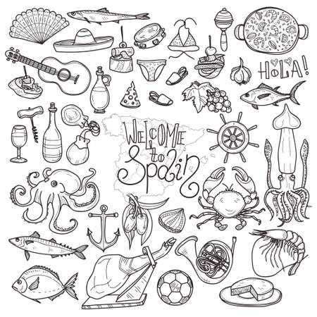Cute hand drawn set of  Spain related icons. Welcome to Spain collection Illustration
