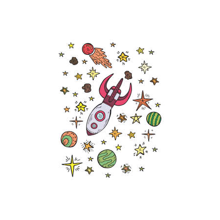 Composition with cute hand drawn space objects: stars, rockets, planets, etc. Hand-drawn vector collection