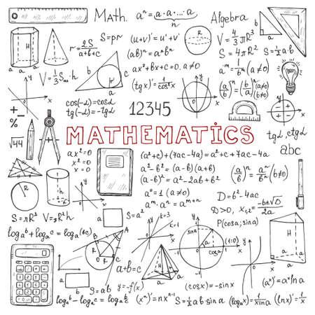 Establecer con fórmulas matemáticas dibujadas a mano y otros elementos. Colección de ciencia. Ilustración de vector doodle
