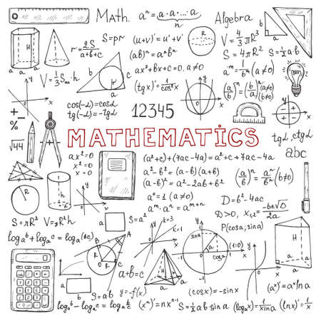 Set with hand drawn mathematics formulas and other elements. Science collection. Vector doodle illustration