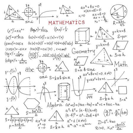 Stellen Sie mit handgezeichneten mathematischen Formeln und anderen Elementen ein. Wissenschaftliche Sammlung. Vektor-Doodle-Illustration