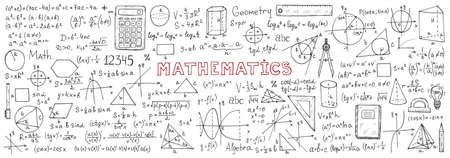 Banner with hand drawn mathematics formulas and other elements. Science collection. Vector doodle illustration
