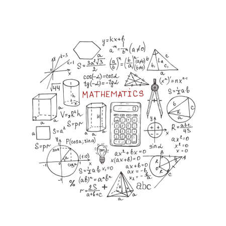 Round shape with hand drawn mathematics formulas and other elements. Science collection. Vector doodle illustration