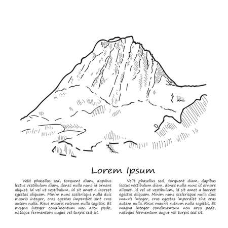Cute hand drawn mountain. Vector sketch Illustration