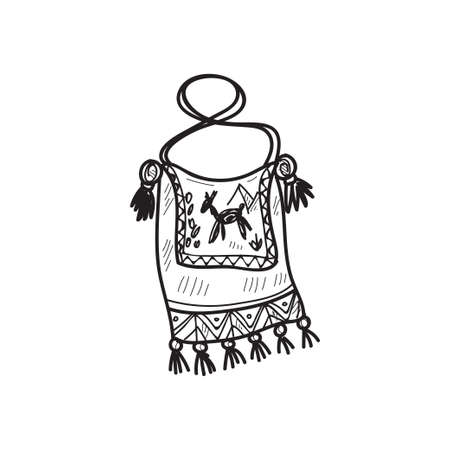 Traditional peruvian bag with ornament. hand drawn sketch