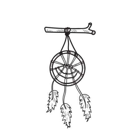 Cute hand drawn Dreamcatcher. Vector sketch
