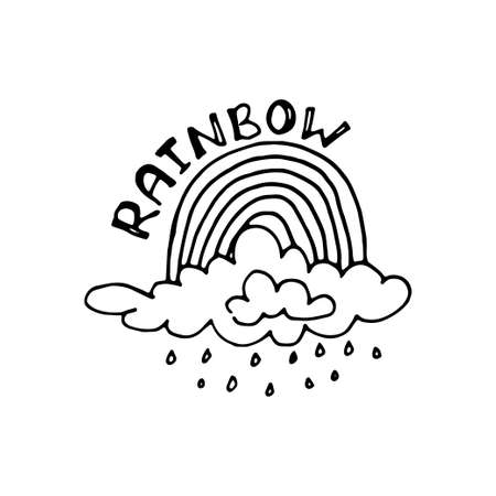 Rainbow with cloud and rain. Cute hand drawn weather icon. Doodle vector collection