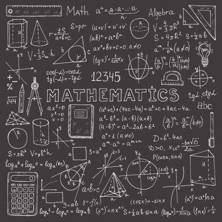Set con formule matematiche disegnate a mano e altri elementi. Collezione di scienze. Illustrazione vettoriale scarabocchio Vettoriali