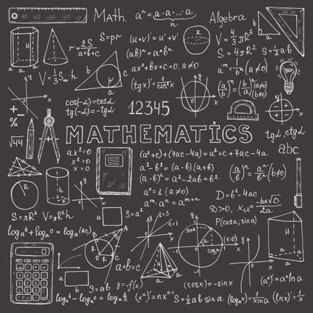 Set with hand drawn mathematics formulas and other elements. Science collection. Vector doodle illustration Vector Illustration