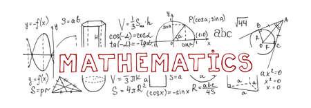 Banner con fórmulas matemáticas dibujadas a mano y otros elementos. Colección de ciencia. Ilustración de vector doodle