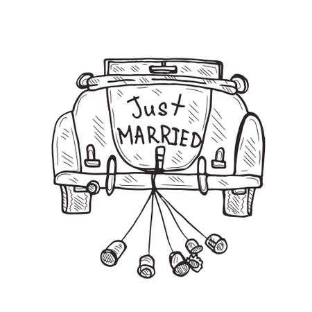 Composition avec une jolie vieille voiture dessinée à la main. Collection d'amour. Tout juste marié. Vecteur Vecteurs