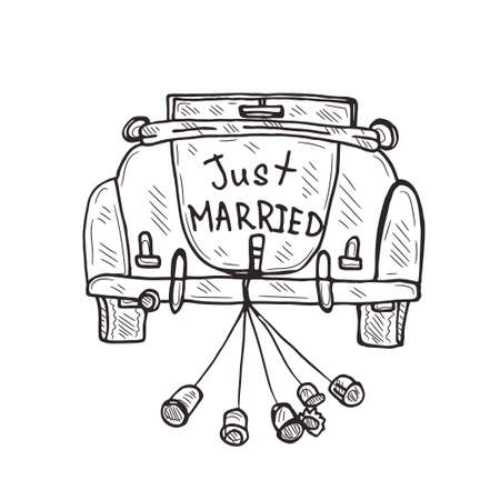 Komposition mit süßem, handgezeichnetem alten Auto. Liebe Sammlung. Gerade geheiratet. Vektor Vektorgrafik