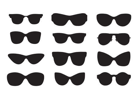 Set of cute hand drawn silhouette of sunglasses different shapes. Vector sketch style.