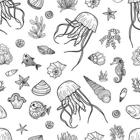 Nahtloses Muster mit niedlichen handgezeichneten Quallen, Fischen und Muscheln. Vektor-Umriss-Hintergrund. Kann als Malvorlage verwendet werden