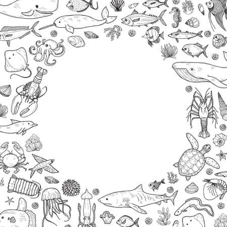 Frame with cute hand drawn marine animals, fish and shells. Vector.  May use as coloring page. Illustration