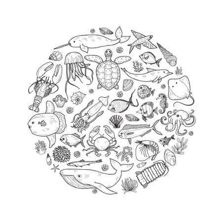 Round composition with cute hand drawn marine animals, fish and shells. Vector. Illustration