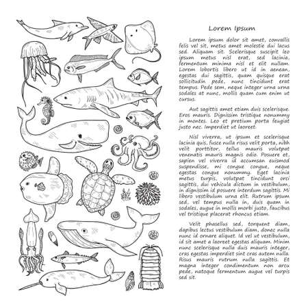 Illustration with cute hand drawn marine animals, fish, shells and text. Vector outline background. Illustration