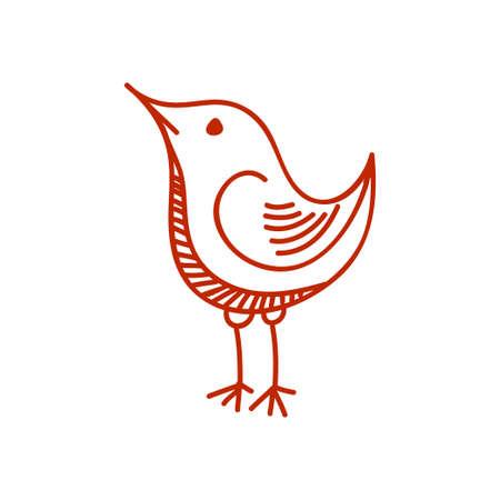 Cute little bird. Hand drawn vector sketch.