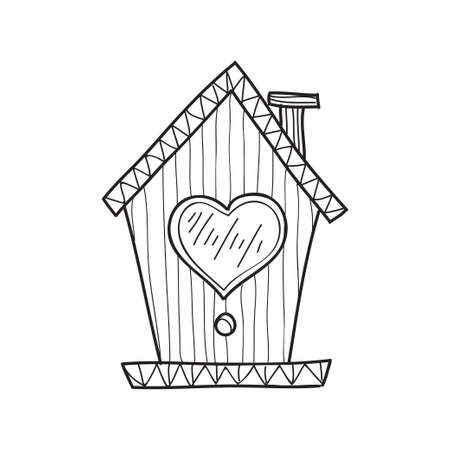 Cute hand drawn abstract house for birds. Vector Valentine card element. page for coloring