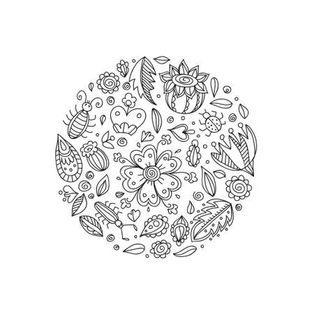Card template with cute hand drawn ornamental flowers. Vector outline sketch.