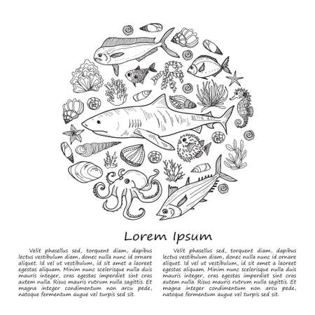 Illustration with cute hand drawn marine animals, fish and shells. Vector.  May use as coloring page.