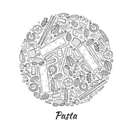 Round composition with different types of pasta. Vector food illustration. May use as a coloring page.
