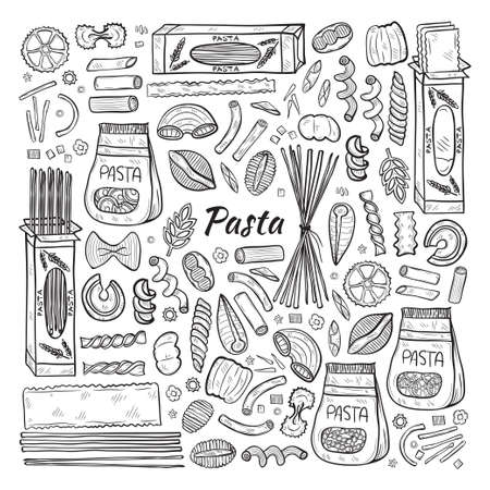 Hand drawn set with different types of pasta. Vector food illustration. May use as a coloring page