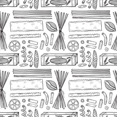 Seamless pattern with different types of pasta. Vector food illustration. May use as a coloring page