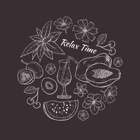 Round composition with cute hand drawn fruit and flower icons. Vector Relax Time illustration.
