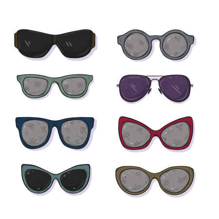 Set of cute hand drawn sunglasses different shapes. Vector sketch style.
