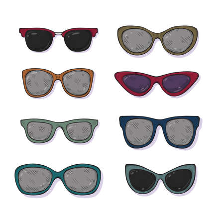 Set of cute hand drawn sunglasses different shapes. Vector sketch style. Illustration