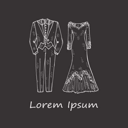 Illustration with hand drawn wedding clothes for newlyweds. Vector wedding card.