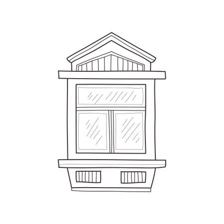 Hand drawn sketch of window. Vector window icon with decorative elements. Illustration
