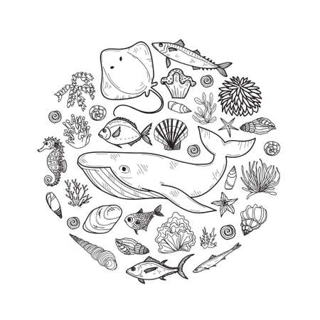 Round composition with cute hand drawn marine animals, fish and shells. Vector.  May use as coloring page.