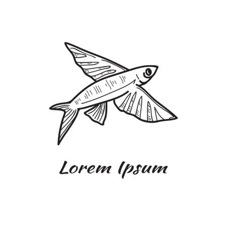 Vector illustration with cute hand drawn flying fish. Marine animals collection. Outline sketch. May use as a coloring page