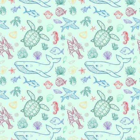 Seamless pattern with cute hand drawn marine animals, fish and shells. Vector background.
