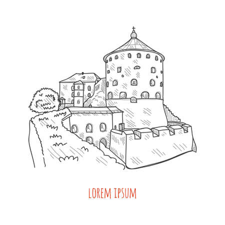 Vector hand drawn illustration with cute castle. May uase as a coloring page
