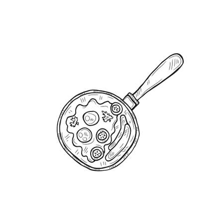 Illustration with cute hand drawn outline omelette. Vector breakfast sketch.  Illustration