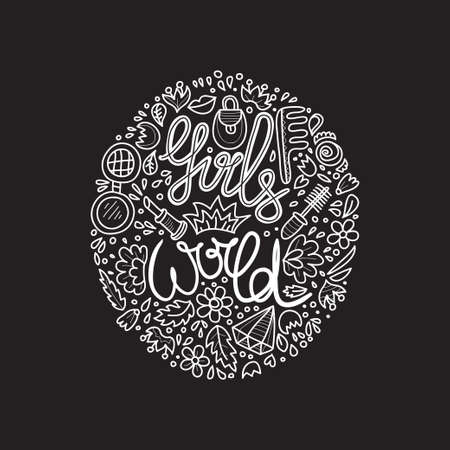 Cute hand drawn lettering with phrase Girls World. Illustration on feminism theme. Vector. Banque d'images - 135101509