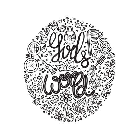 Cute hand drawn lettering with phrase Girls World. Illustration on feminism theme. Vector. Banque d'images - 135101496
