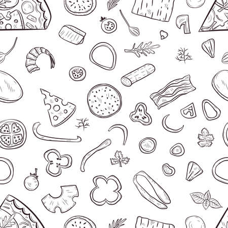 Vector seamless pattern with hand drawn pizza and pizza igridients