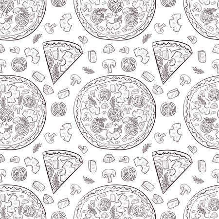 Vector seamless pattern with hand drawn pizza and pizza igridients Banque d'images - 144209036