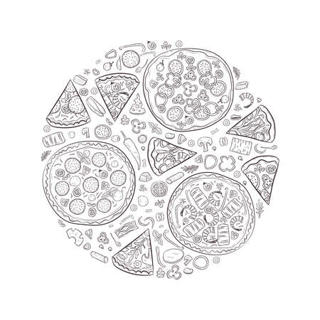 Vector illustration with hand drawn pizza and pizza igridients Illustration