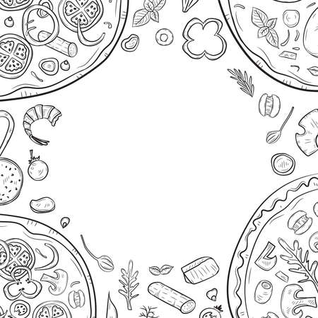 Vector illustration with hand drawn pizza and pizza igridients Banque d'images - 144176245