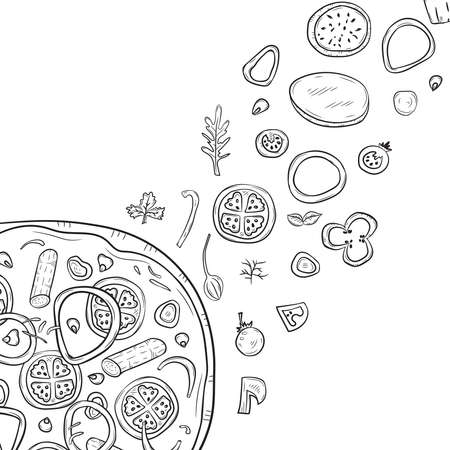 Vector illustration with hand drawn pizza and pizza igridients Banque d'images - 144176225