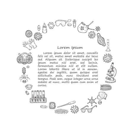 Set with hand drawn virolory icons and other elemets. Science collection. Vector doolle illustration
